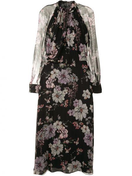 Черное приталенное шелковое платье макси с длинными рукавами Adam Lippes