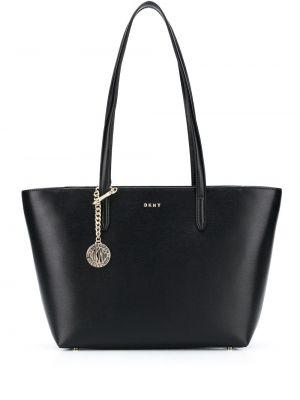 Черная кожаная сумка-тоут круглая Dkny