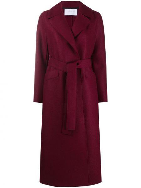 Красное шерстяное длинное пальто с воротником с поясом Harris Wharf London