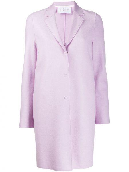 Фиолетовое однобортное шерстяное пальто узкого кроя Harris Wharf London