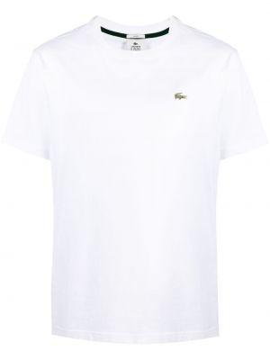 Biały t-shirt bawełniany krótki rękaw Lacoste Live