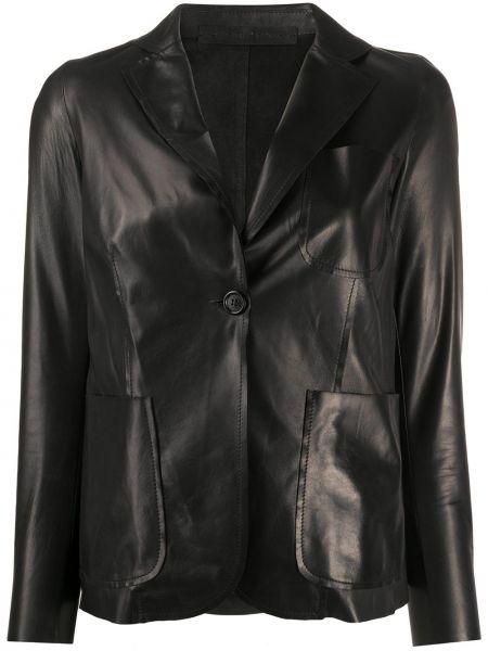Однобортный черный кожаный пиджак Salvatore Santoro