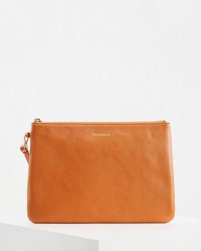 Кожаный клатч - оранжевый Coccinelle