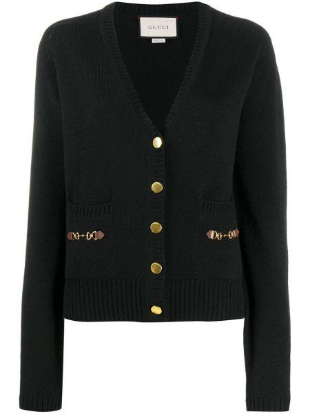 Кашемировый прямой черный кардиган с карманами Gucci
