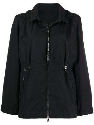 Расклешенная черная куртка на молнии с карманами Moncler