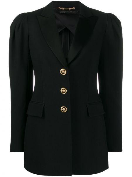 Черный пиджак с карманами на пуговицах Versace