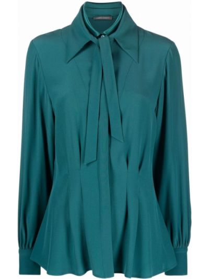 Зеленая рубашка длинная Alberta Ferretti