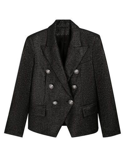 Серебряный шерстяной пиджак с подкладкой с лацканами Balmain