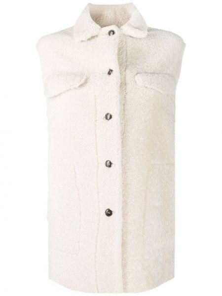 Белая кожаная куртка без рукавов Simonetta Ravizza