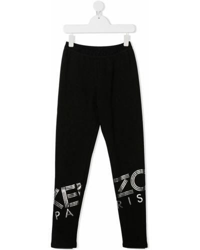 Czarne legginsy bawełniane z printem Kenzo Kids