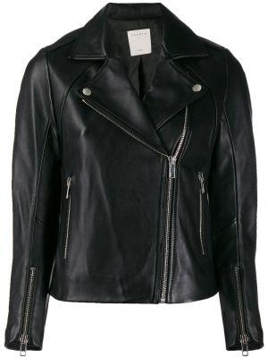 Кожаная куртка на молнии - черная Sandro Paris