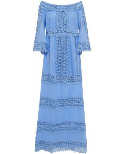 Кружевное синее платье макси с декольте Charo Ruiz Ibiza
