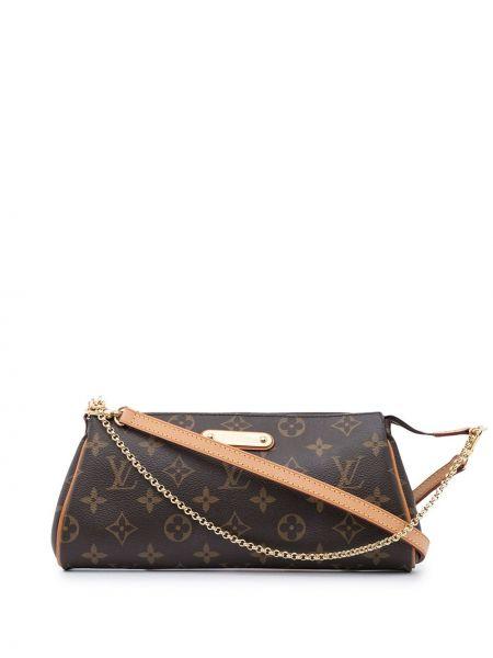 Коричневая кожаная сумка через плечо винтажная Louis Vuitton