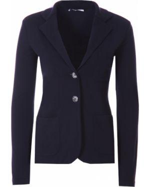 Синий приталенный пиджак с воротником на пуговицах Agnona