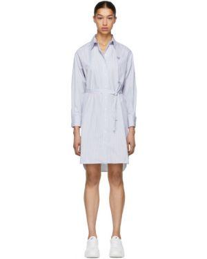 Платье макси с вышивкой в полоску Kenzo