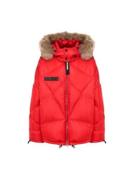 Пуховая красная куртка с капюшоном с воротником с подкладкой As65