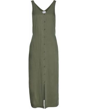 Платье с поясом на пуговицах зеленый Bonprix