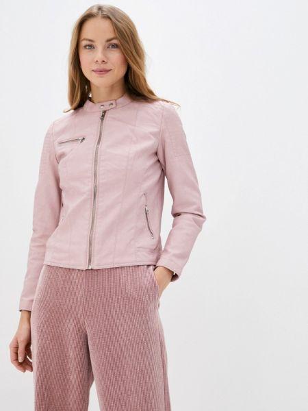 Кожаная куртка весенняя розовая Only