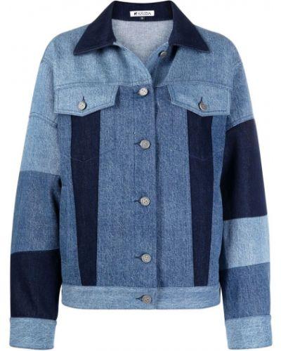 Синяя джинсовая куртка с нашивками с воротником Krizia