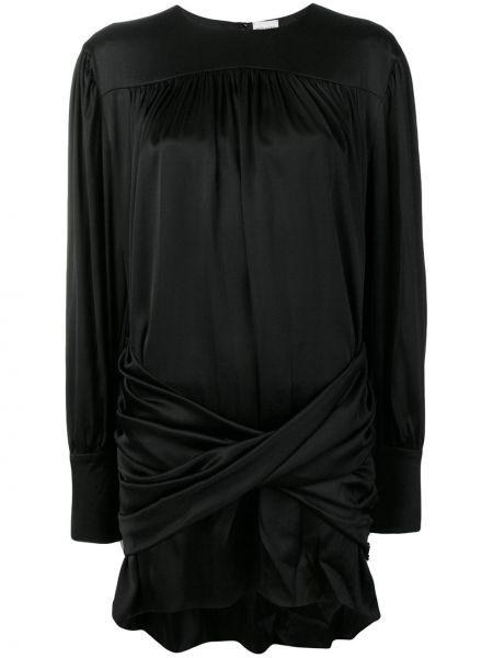 Czarna sukienka koktajlowa asymetryczna z długimi rękawami Magda Butrym