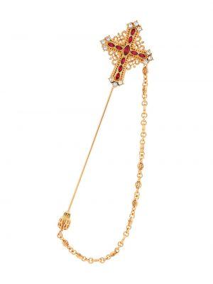 Золотистый крест золотой с камнями Dolce & Gabbana