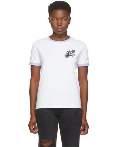 Трикотажная белая футболка с воротником Kenzo