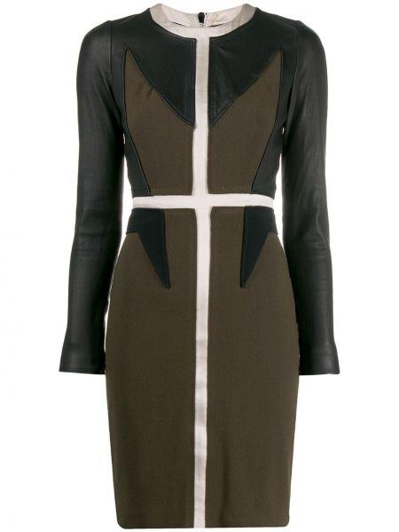 Приталенное кожаное платье винтажное с вырезом Givenchy Pre-owned
