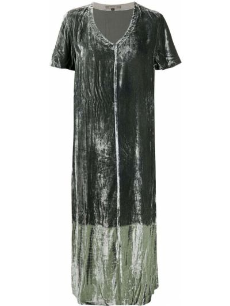 Шелковое с рукавами черное платье миди Suzusan