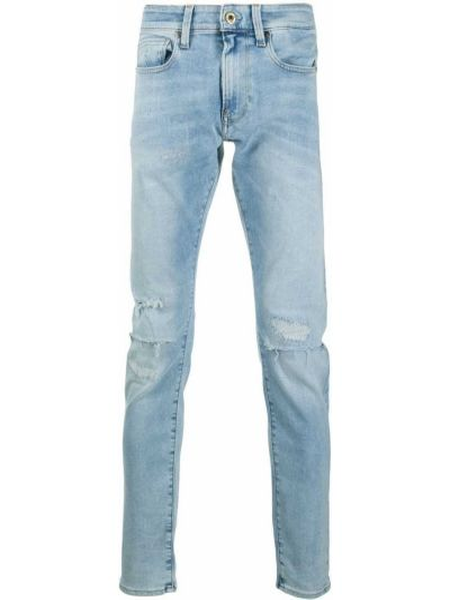 Кожаные облегающие синие джинсы-скинни G-star Raw