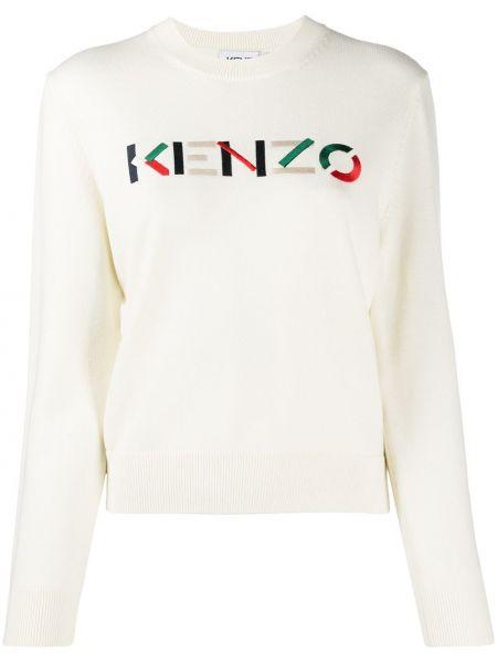 Белый пуловер круглый с вырезом Kenzo