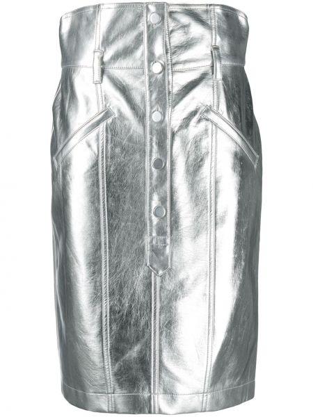 Серебряная с завышенной талией юбка карандаш с поясом из вискозы Philosophy Di Lorenzo Serafini