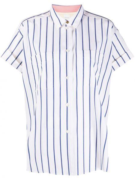 Шелковая белая рубашка с короткими рукавами Paul Smith
