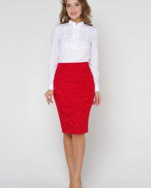 Нейлоновая прямая деловая юбка карандаш на резинке Valentina