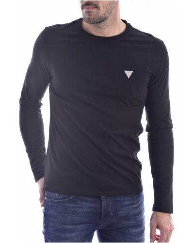 Czarna koszula jeansowa bawełniana z długimi rękawami Guess