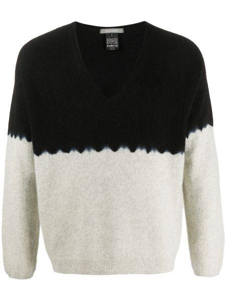 Кашемировый черный свитер свободного кроя с V-образным вырезом Suzusan