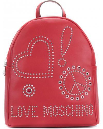 Красный рюкзак с заклепками Love Moschino