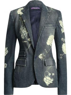 Niebieskie jeansy w kwiaty bawełniane Ralph Lauren Collection