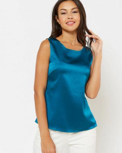 Свободный синий шелковый топ Silk Me
