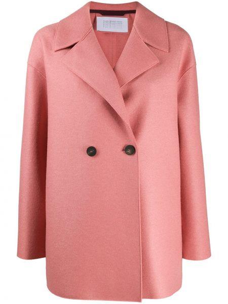 Шерстяная розовая длинная куртка двубортная Harris Wharf London