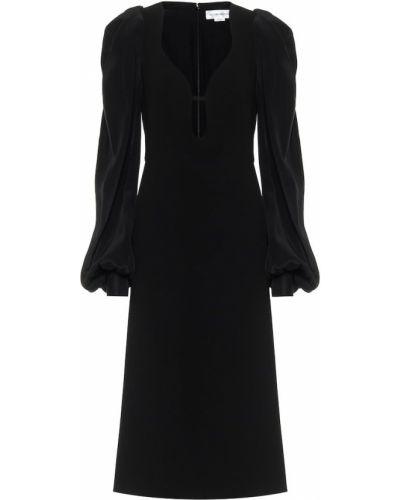 Черное с рукавами платье миди с декольте Victoria Beckham