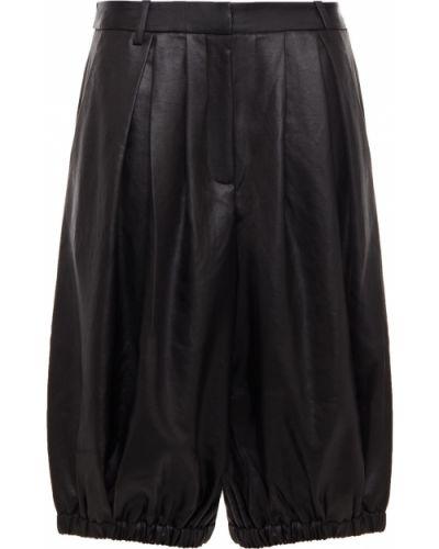 Satynowe czarne szorty z paskiem Tibi