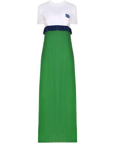 Повседневное с рукавами платье мини с поясом Prada