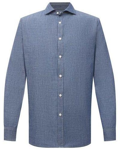 Хлопковая синяя рубашка Jacob Cohen