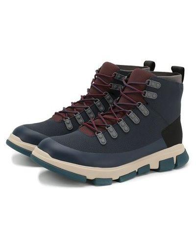 Синие кожаные ботинки Swims