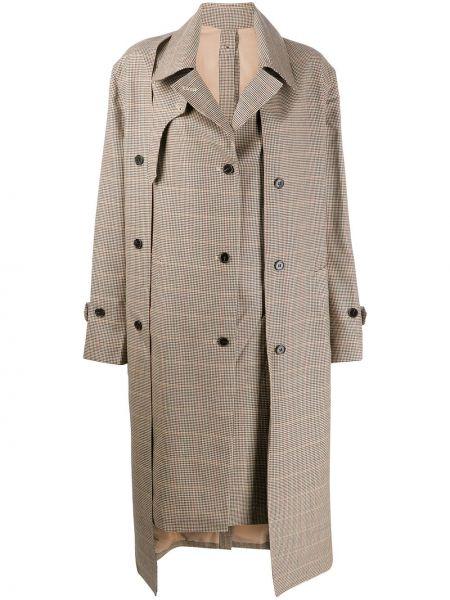 Шерстяной длинное пальто с воротником на пуговицах Rokh