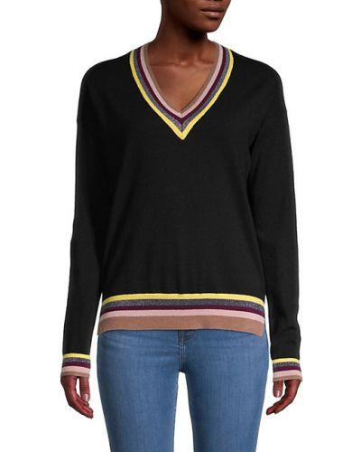 Czarny długi sweter w paski z dekoltem w serek Central Park West