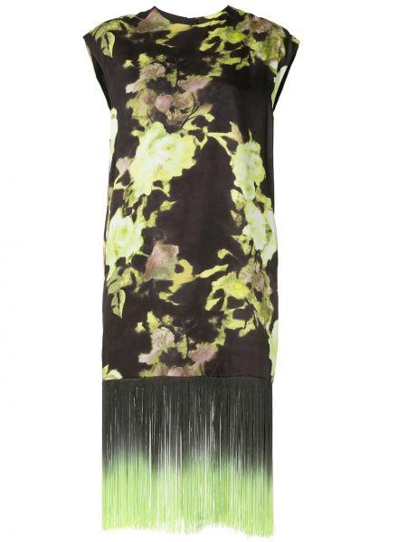 Платье миди с бахромой с цветочным принтом Msgm
