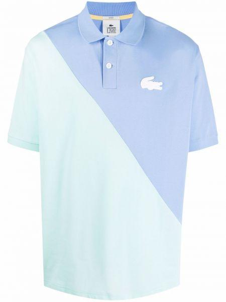 Niebieska koszula bawełniana krótki rękaw Lacoste Live