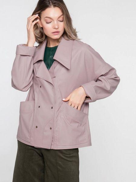 Кожаная куртка весенняя розовая Лимонти