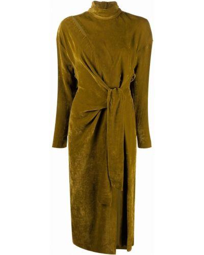 Велюровое платье миди - зеленое Tela